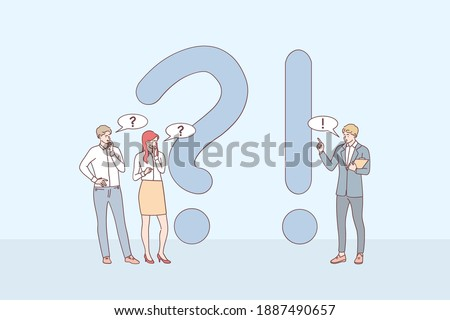 Questions and answers concept. Young business people cartoon characters standing near exclamations and question marks, asking questions and receiving answers online vector illustration