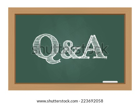 Questions and answers drawn on chalkboard