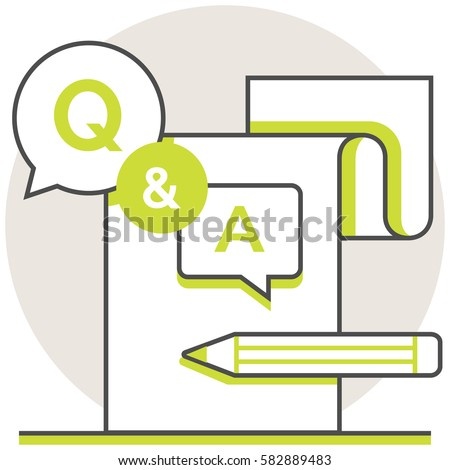 Questions and Answers - Infographic Icon Elements from Online Education Set. Flat Thin Line Icon Pictogram for Website and Mobile Application Graphics.