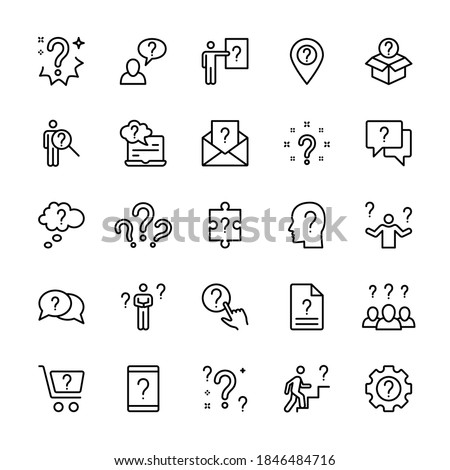 Questions and tasks, ask and think, vector linear icons set. Contains icons such as doubt, difficulty, uncertainty, question mark, and more. Collection of isolated symbols of questions for the web.