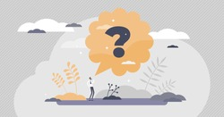 Questions as symbol in thoughts asking for information tiny persons concept. Big confusion with unclear mind vector illustration. FAQ answers for knowledge, curiosity and doubt. Abstract help needed.