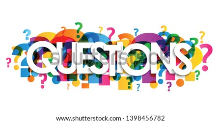 QUESTIONS? colorful vector typography banner with question marks Foto stock ©