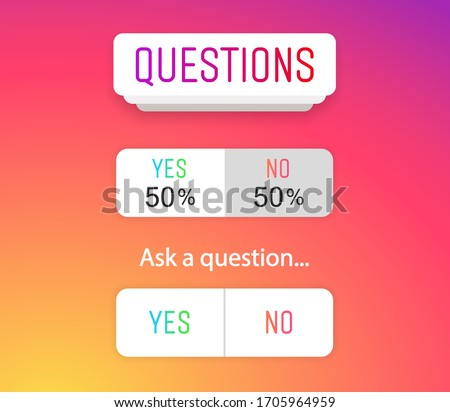 Questions icon, sign, sticker template. Web button YES or NO layout. Blogging. Social media instagram concept. Vector illustration. EPS 10