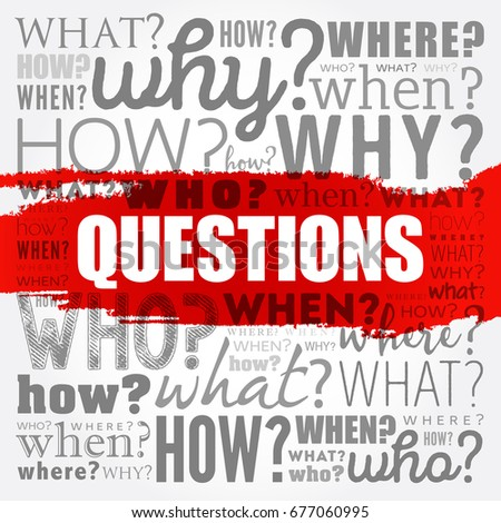 Questions whose answers are considered basic in information gathering or problem solving, word cloud background