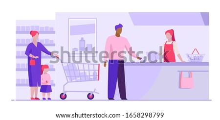 Queue at checkout in supermarket. Customers, cashier, check register flat vector illustration. Shopping, grocery store, payment concept for banner, website design or landing web page