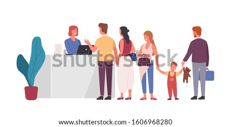 Queue at reception flat vector illustration. People waiting in line at front desk cartoon characters. Airport terminal, hotel registration table design element. Friendly receptionist helping clients. Foto stock ©