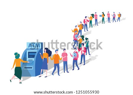 Queue at the ATM. Business people are standing in line. People waiting in line near ATM machine, Vector isometric illustration,  perform financial transactions using ATM. 3D, queue