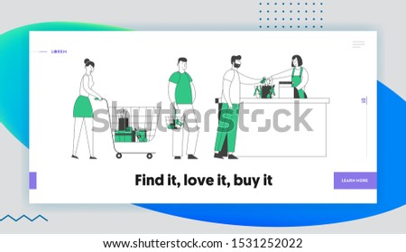 Queue in Store Website Landing Page. Customers Stand at Grocery or Supermarket Turn with Goods in Shopping Trolley Put Buys on Cashier Desk Web Page Banner. Cartoon Flat Vector Illustration, Line Art