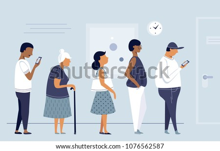 Queue of people, group of men and women waiting for, flat character design, vector illustration.