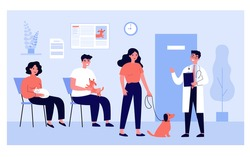 Queue of people with cats and dogs waiting their turn at vet doctor office in clinic. Vector illustration for sick pet, veterinarian hospital, animal care concept