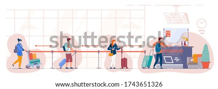 Queue of tourists at the departure check-in desk at the airport. People in medical mask stand in the luggage drop-off line at terminal and maintain a social distance. Travel during pandemic situation.