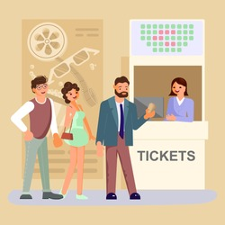 Queue people buy cinema tickets at service movie ticket counter theater. Flat Art Vector illustration