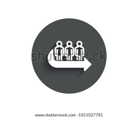 Queue simple icon. People waiting sign. Direction arrow symbol. Circle flat button with shadow. Vector