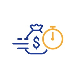 Quick and easy loan, fast money providence, business and finance services, timely payment, financial solution, vector line icon