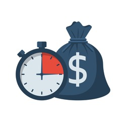 Quick credit. Fast money. Bag of money and stopwatch. Loan in a short time. Business and finance. Timely payment, financial solution. Vector illustration flat design.