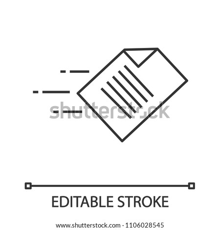 Quick data transfer linear icon. File sending. Thin line illustration. Flying document. Contour symbol. Vector isolated outline drawing. Editable stroke