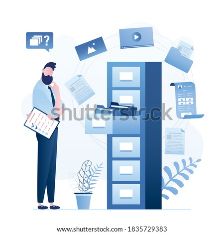 Quick files or media content search. Documents archiving and data storage. Businessman or clerk thinking. Large database, hosting system. File manager. Open drawer with folders. Vector illustration