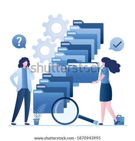 Quick files search. Clerk assistant helps a woman user to quickly find folder with documents. Database indexing, fast unzipping. Easy search system for files and information. Content storage. Vector