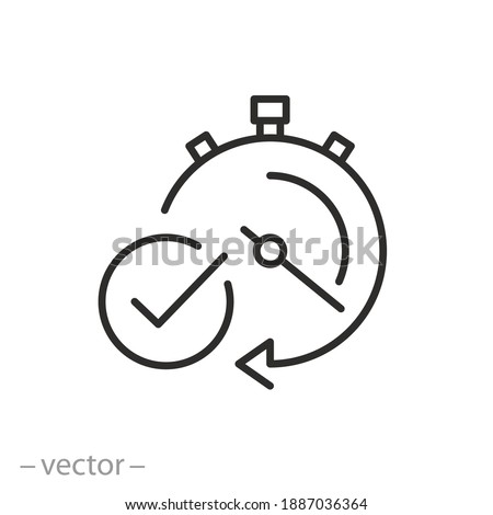 quick time icon, fast deadline, timer with check mark, instant verification, rapid delivery, line symbol on white background - editable stroke vector illustration eps10 Foto stock ©