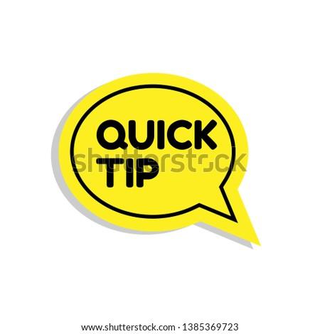 Quick tip , emblem, label, badge,sticker. Quick tip paper origami speech bubble. Quick tip tag.
