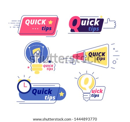 Quick tip. Tricks quick tips solution logos helpful advice text shapes isolated vector labels. Illustration of quick info, suggestion and reminde tips
