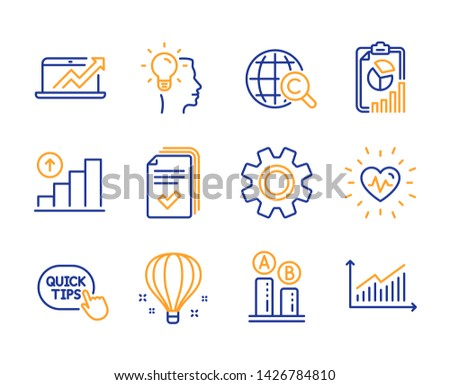 Quick tips, Ab testing and Heartbeat icons simple set. Graph chart, Air balloon and International Ð¡opyright signs. Handout, Sales diagram and Idea symbols. Report, Service and Graph. Vector