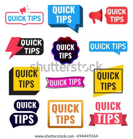 quick tips badge  icon  set
