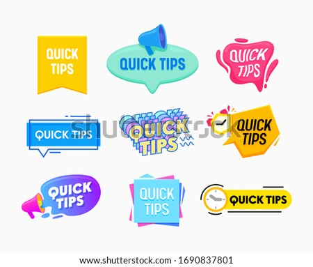 Quick Tips Helpful Tricks Emblems and Banners Set Speech Bubbles with Megaphone, Alarm Clock Isolated on White Background. Helpful Idea, Advice and Solution, Useful Hints. Cartoon Vector Illustration
