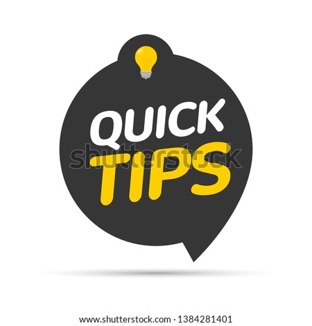 Quick tips icon badge. Top tips advice note icon. Idea bulb education tricks. Stockfoto ©