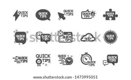Quick tips icons. Helpful tricks, Solution and Quickstart guide. Tutorial classic icon set. Quality set. Vector