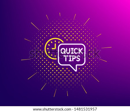 Quick tips line icon. Halftone pattern. Helpful tricks sign. Tutorials symbol. Gradient background. Quick tips line icon. Yellow halftone pattern. Vector