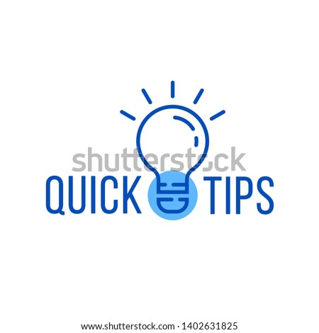 quick tips with blue thin line bulb. concept of message or label like new knowledge and study practice. flat linear minimal trend modern faqs logotype graphic art design isolated on white background
