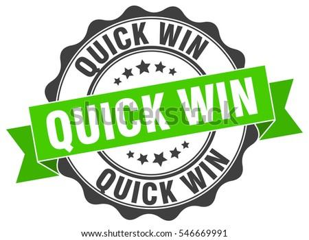 quick win. stamp. sticker. seal. round grunge vintage ribbon quick win sign