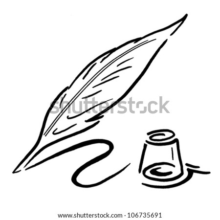 Quill And Ink Pot Stock Vector Illustration 106735691 ... Quill And Ink Pot