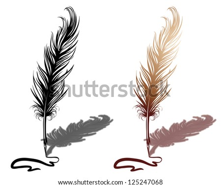 Quill with drawn line
