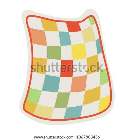 Quilt blanket. Clip art illustration on white background.