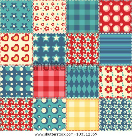 Quilt seamless pattern. Vector patchwork background.
