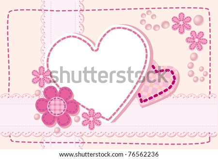 Quilted birth announcement card for a girl