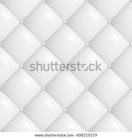 Quilted Pattern Vector. White Soft Neutral Quilt Upholstery Background Seamless