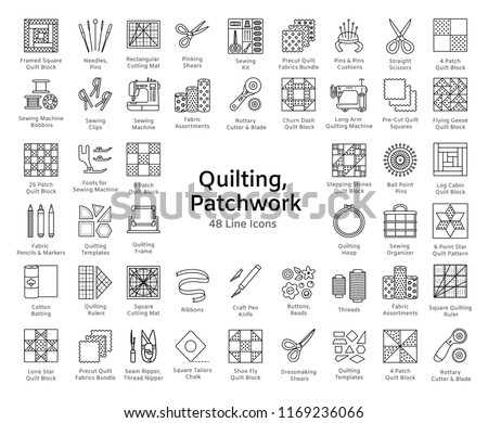 Quilting & patchwork. Supplies and accessories for sewing quilts from fabric squares & blocks. Different tools, patterns for quilters. Vector line icon set. Isolated objects on white background. Stockfoto ©
