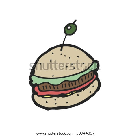 quirky drawing of a burger