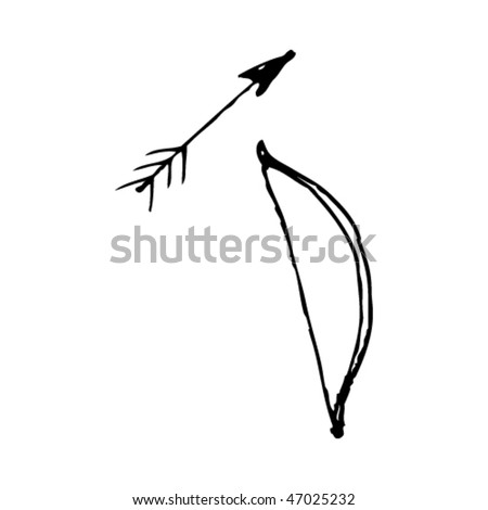 quirky ink drawing of a bow and arrow