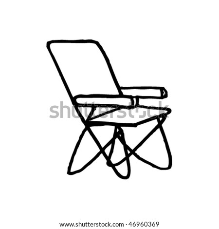 Deck Chairs Drawing Quirky Ink Drawing of a Deck