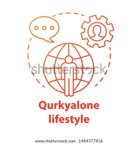 Quirkyalone lifestyle red concept icon. Spending time alone idea thin line illustration. Preferring singleness, remain single, singlehood. Vector isolated outline drawing. Editable stroke