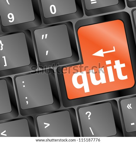 quit button on black internet computer keyboard - vector business concept