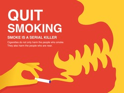 Quit Smoking Poster. Red and yellow smoke in the form of evil concept.