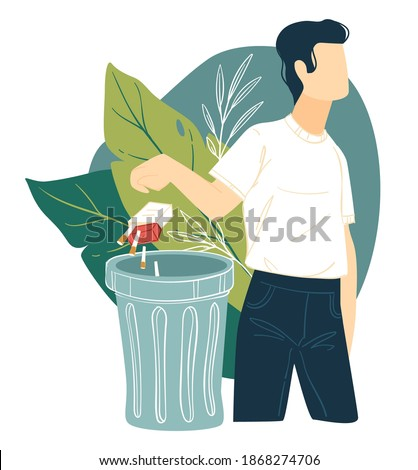 Quitting smoking and bad habits, male character throwing pack of cigarettes in trash. Healthy lifestyle and improvement of wellness of organism. Stop addiction and overcoming nicotine, vector Сток-фото ©