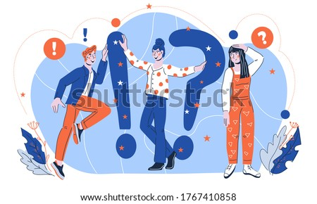 Quiz concept illustration of people asking questions and having answers, flat cartoon vector isolated. Questions and answers topic for online quiz game or questioning, interview.