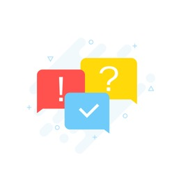 Quiz concept. Quiz online. The concept is the question with the answer. Modern flat style vector illustration.