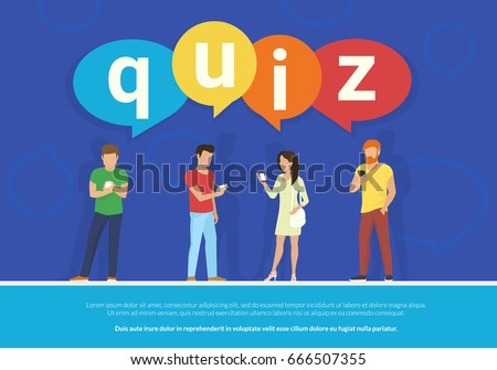 Quiz flat concept vector illustration of young people using mobile smartphone for texting, messaging and answering questions online with quiz big colored bubbles on blue background with copyspace